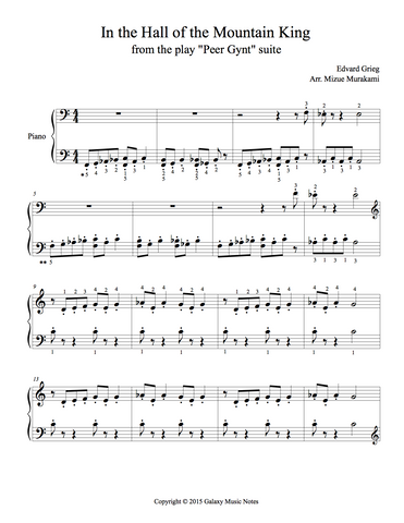 In the Hall of the Mountain King Level 3: 1st piano music sheet