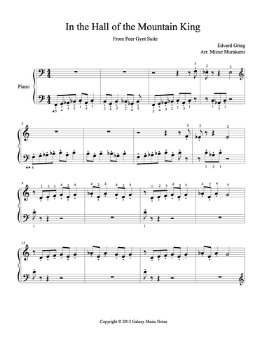 In the Hall of the Mountain King Level 2: 1st piano music sheet