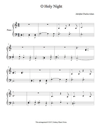 O Holy Night Level 2 - 1st piano music sheet