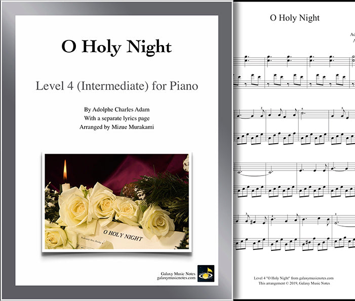 O Holy Night: Level 4 - 1st piano page & cover
