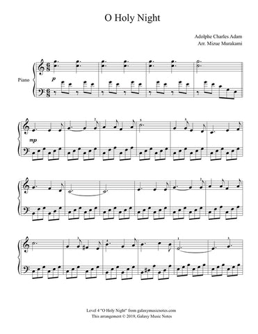 O Holy Night: Level 4 piano sheet music - page 1