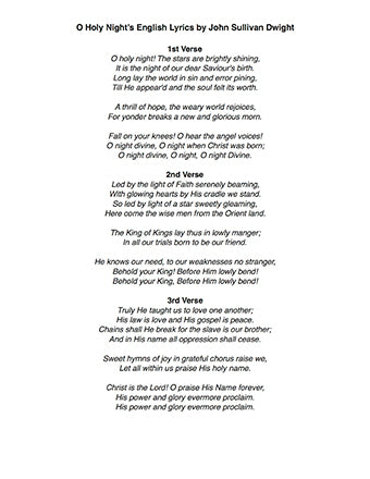 O Holy Night Level 2 - Lyrics page