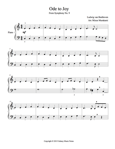 Ode to Joy Level 3 - 1st piano music sheet