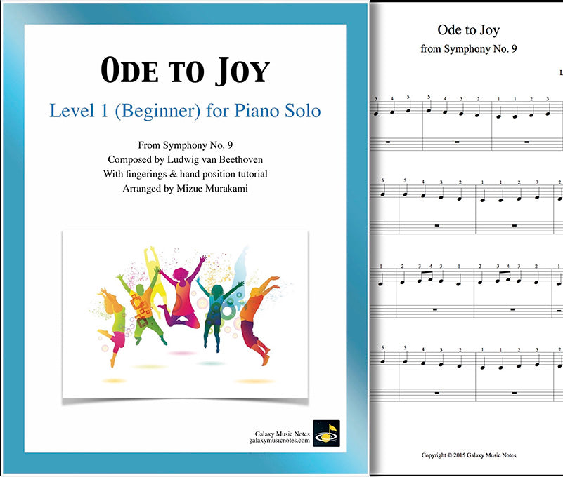 Ode to Joy: Level 1 - 1st piano page & cover