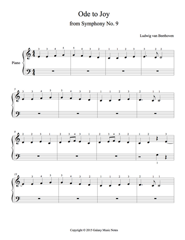 Ode to Joy Level 1 - 1st piano music sheet