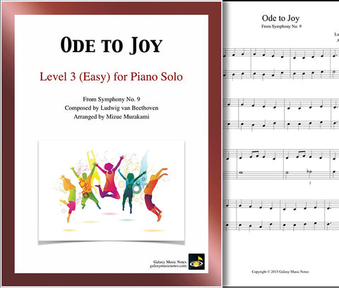 Ode to Joy: Level 3 - 1st piano page & cover