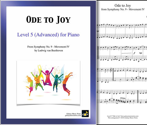 Ode to Joy: Level 5 - 1st piano page & cover
