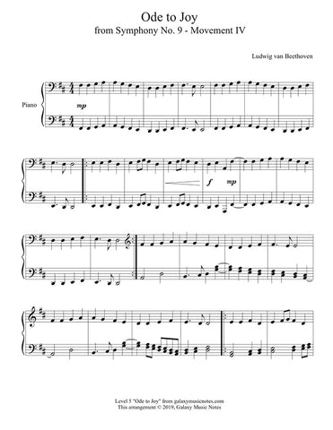 Ode to Joy: Level 5 Piano sheet music - Page 1