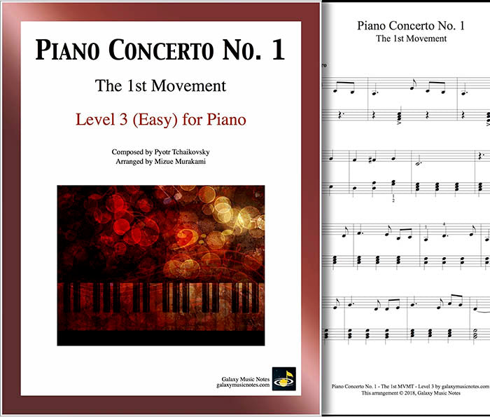 Piano Concerto No. 1 - 1st MVMT - Level 3 - Cover & partial 1st page