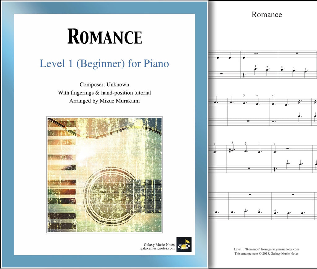 Romance: Level 1 - 1st piano page & cover