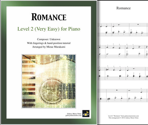 Romance: Level 2 - 1st piano page & cover