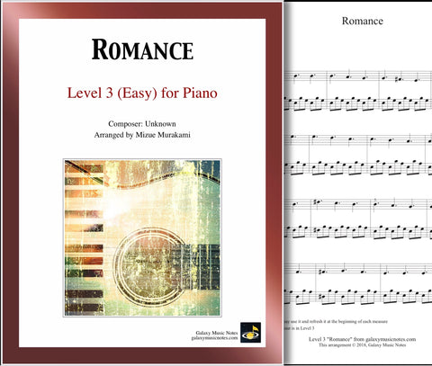 """Romance"" Level 3: 1st piano page & cover"