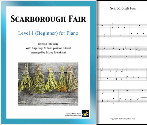 Scarborough Fair Level 1 - Cover sheet & 1st piano sheet