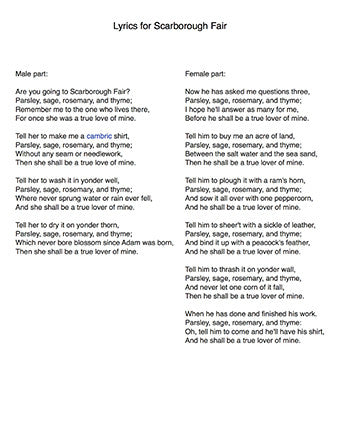 Scarborough Fair - Lyrics page