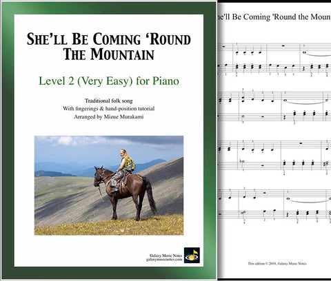 She'll be Coming Round the Mountain Level 2 - cover & 1st piano sheet