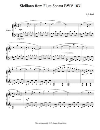 Siciliano from Sonata BWV 1031 Level 4: 1st piano music sheet