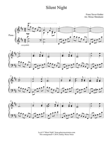 Silent Night: Level 5 Piano sheet music - Page 1