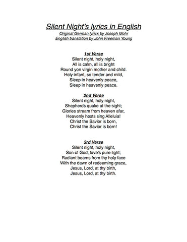 Silent Night: Lyrics page