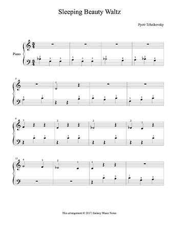 Sleeping Beauty Waltz Level 1 - 1st piano music sheet