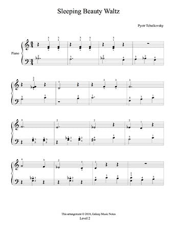 Sleeping Beauty Waltz Level 2 - 1st piano music sheet