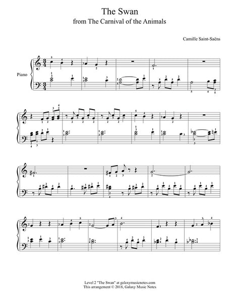 The Swan: from The Carnival of the Animals - Level 2 - Piano sheet music