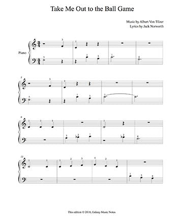 Take Me Out to the Ball Game Level 1 - 1st piano music sheet