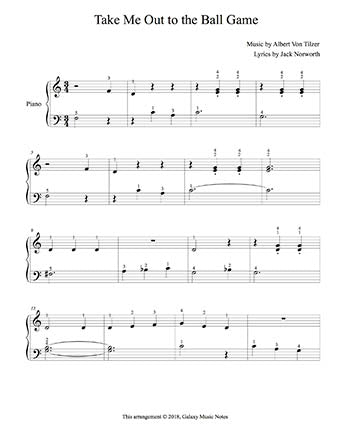 Take Me Out to the Ball Game Level 2 - 1st piano music sheet
