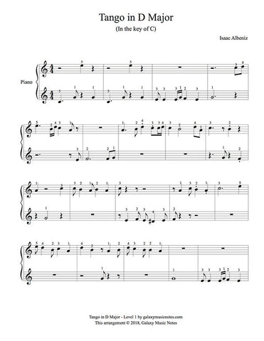 Tango in D Major Level 1 - 1st piano music sheet