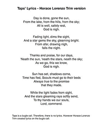 Taps - Lyrics page
