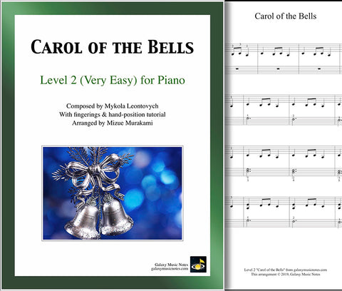 Carol of the Bells: Level 2 - 1st piano page & cover