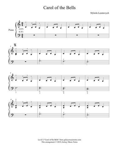 Carol of the Bells: Level 2 piano sheet music - Page1