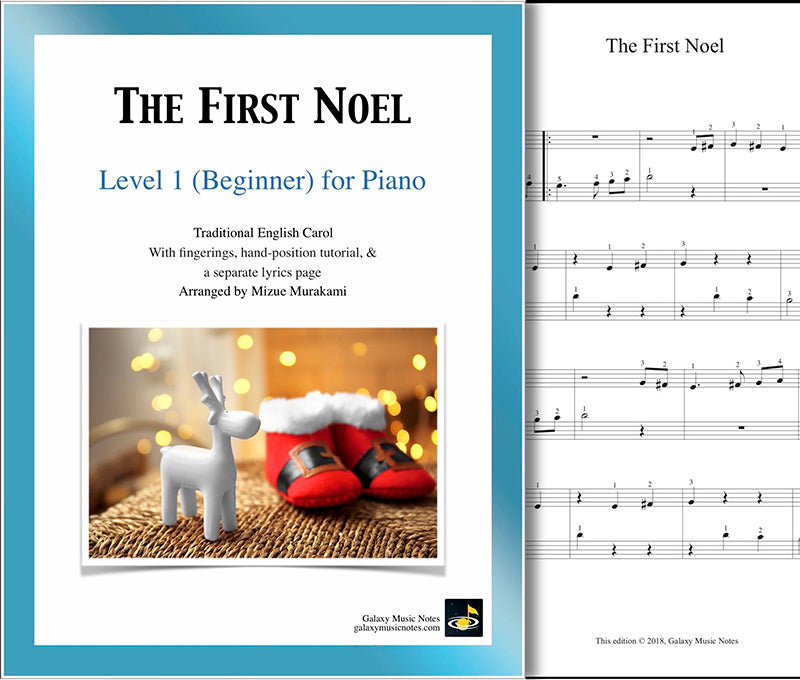The First Noel | Beginner's piano sheet music | Christmas carol