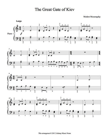 The Great Gate of Kiev Level 2 - 1st piano music sheet