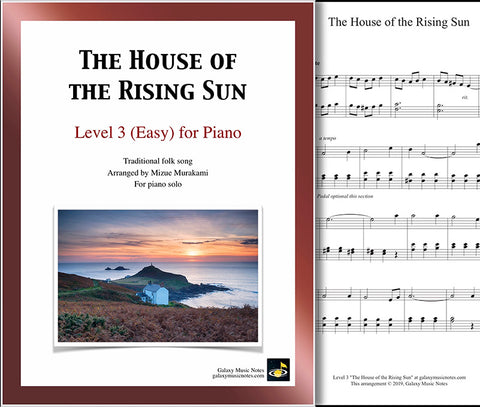 The House of the Rising Sun: Level 3 - 1st piano page & cover