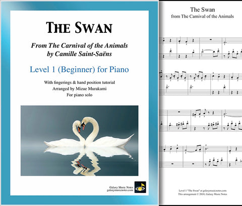 The Swan: The Carnival of the Animals - Level 1 - 1st music sheet & cover