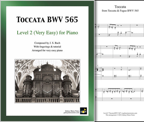 Toccata BWV 565: Level 2 - 1st piano page & cover