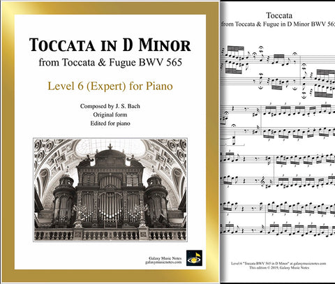Toccata BWV 565: Level 6 - 1st piano page & cover