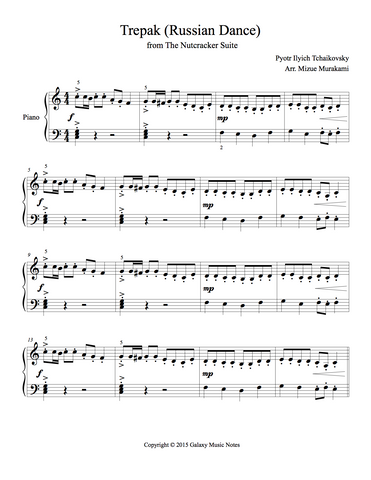 Trepak from The Nutcracker: Level 4 - 1st piano music sheet