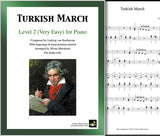 Turkish March by Beethoven Level 2 - Cover & 1st piano sheet