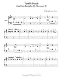 Turkish March by Mozart Level 1 - 1st piano music sheet