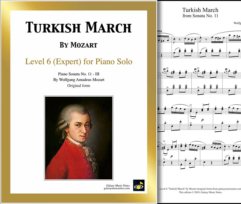 Turkish March by Mozart: Level 6 - 1st piano page & cover