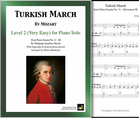 Turkish March | Mozart | Level 2 - Cover sheet & 1st page