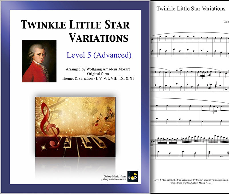 Twinkle Little Star 6 Variations: by Mozart - Level 5 Piano sheet music