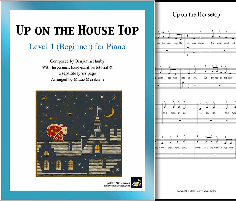 Up on the Housetop Level 1 - Cover & 1st piano sheet