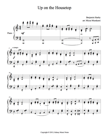 Up on the Housetop: Level 5 | Ragtime | 1st piano music sheet