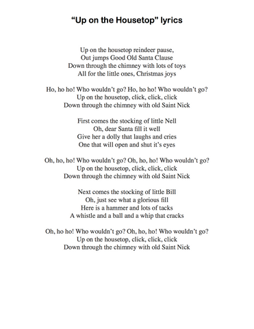 Up on the Housetop: Lyrics page