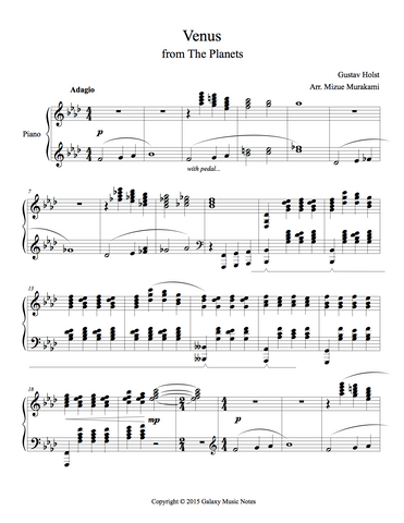 Venus from The Planets Level 6 - 1st piano music sheet