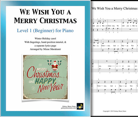 We Wish You a Merry Christmas Level 1 - Cover & 1st piano page