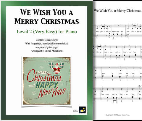 We Wish You a Merry Christmas Level 2 - Cover & 1st piano page