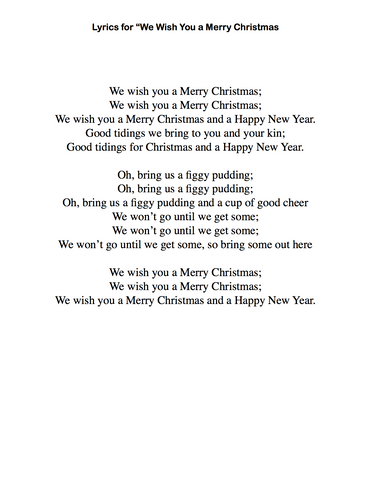 photo regarding Lyrics to We Wish You a Merry Christmas Printable known as We Want By yourself a Merry Xmas